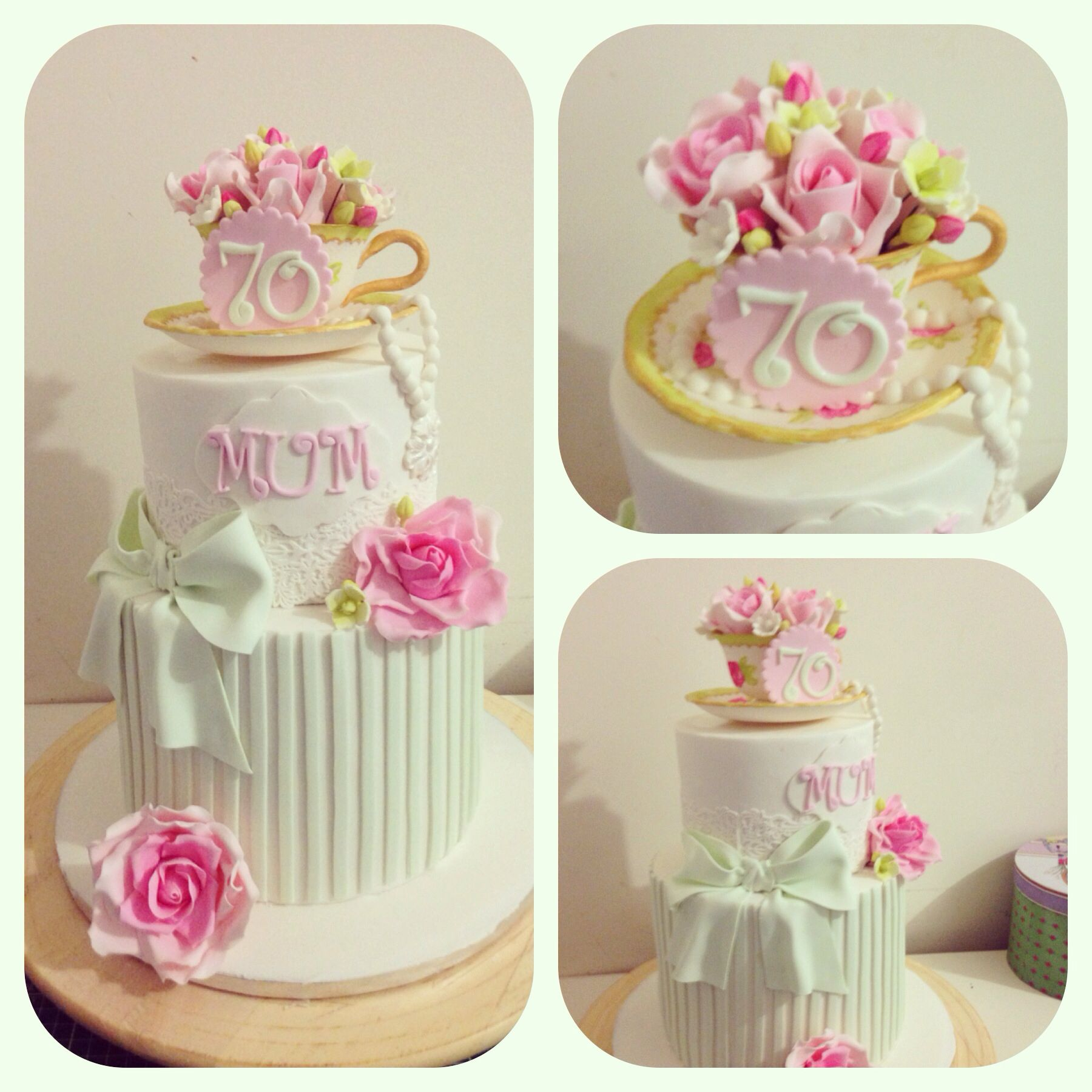 Gumpaste Teacup And Roses Cake For 70th Birthday Cakes By