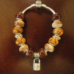 Brown European Charm Bracelelt