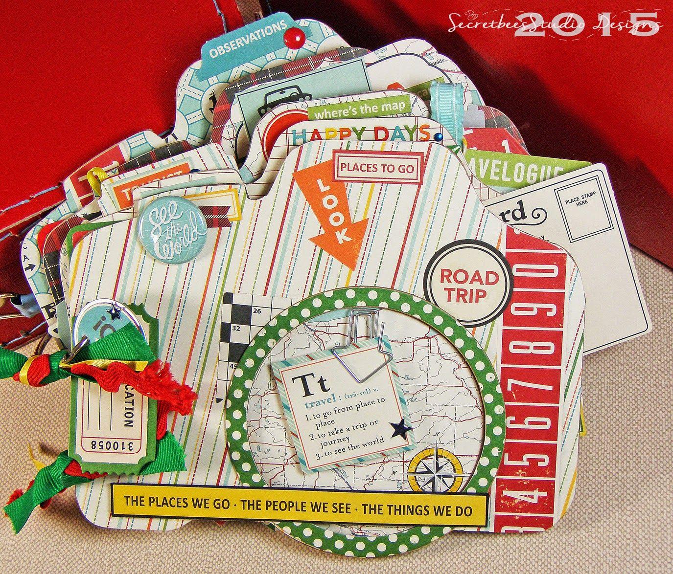 How to scrapbook a road trip - Mini Scrapbook Album Road Trip Mini Featuring The October Afternoon Road Map Paper