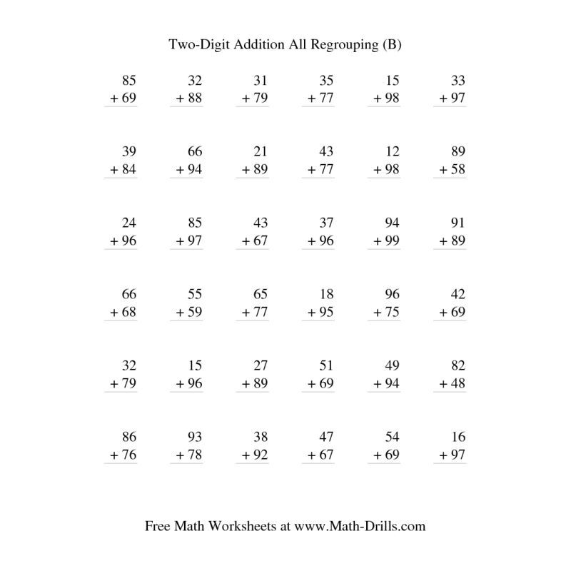 Addition Worksheet  TwoDigit Addition  Vertical  All