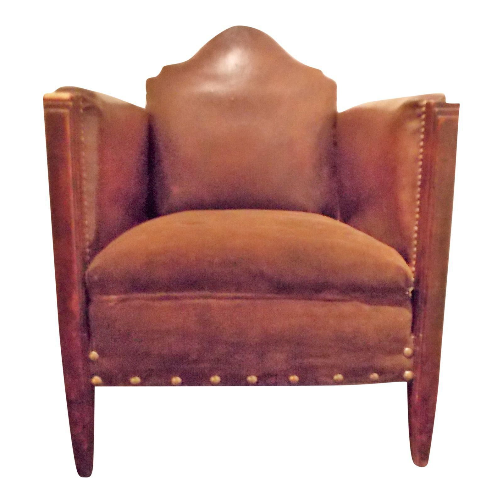 Vintage French Leather Club Chair - Image 1 of 8