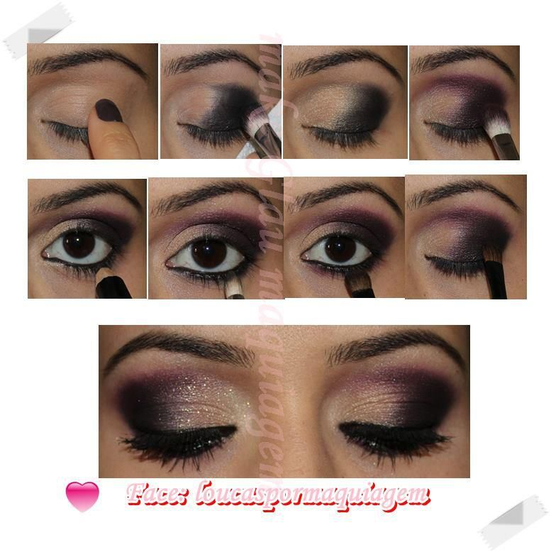 Mary Kay Tutorial...Use eye primer all over lid.  Apply coal, moonstone or honey spice (according to your skintone), and sweet plum eye colors.  Apply black eyeliner and smudge with the smudge brush.  Finish with Lash Love or Ultimate mascara.  Great way to make your brown or green eyes POP! www.marykay.com/jessicadavidson