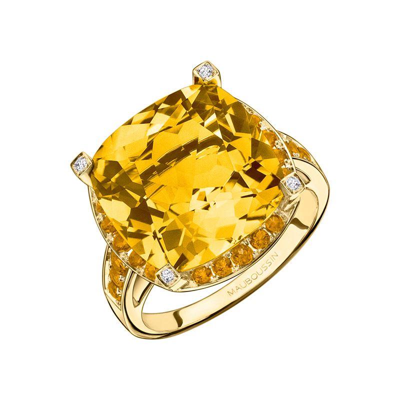 Bague Couleur d\'Amour de Mauboussin, en or jaune, citrine, diamants ...