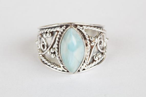 Larimar Ring 925 Silver Jewelry Wide Band Ring Sagittarius Ring Personalized Ring Statement Rin Silver Ring Designs