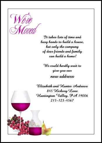 creative weu0027re moving announcement cards with wine and grapes at - fresh graduation invitation maker online free