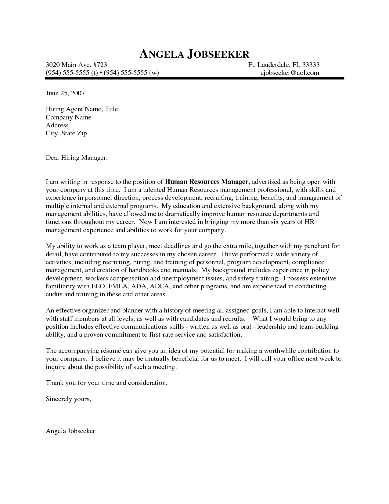 Cover Letter Template Human Resources Personal Interview
