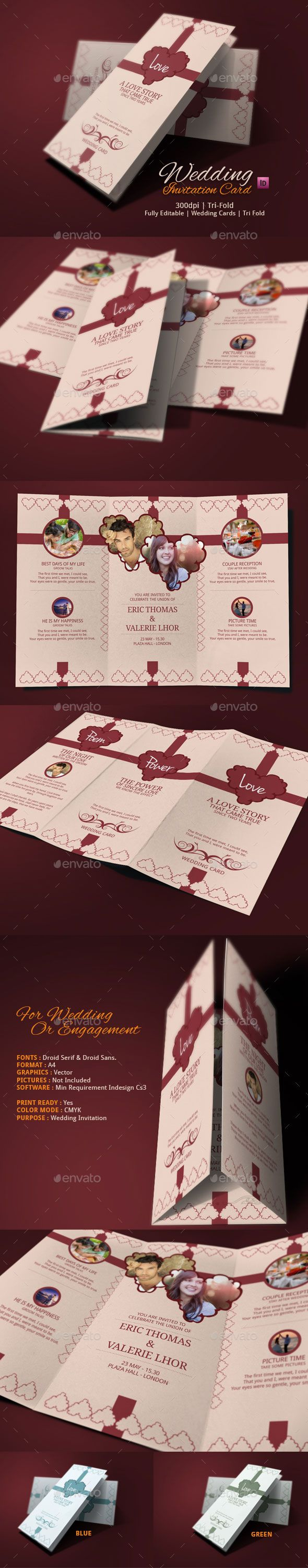 Tri Fold Wedding Card Tri fold Indesign templates and Template
