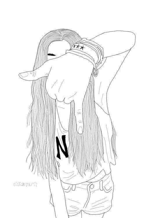 Uzun Saçli Kiz çizimi Harika çizim Fikirleri Pinterest