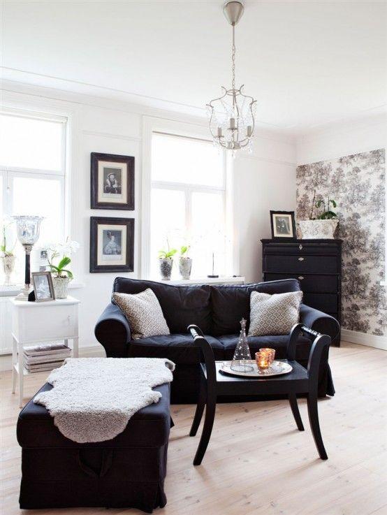 Black And White Interior Design Scandinavian House Desain Rumah Swedia