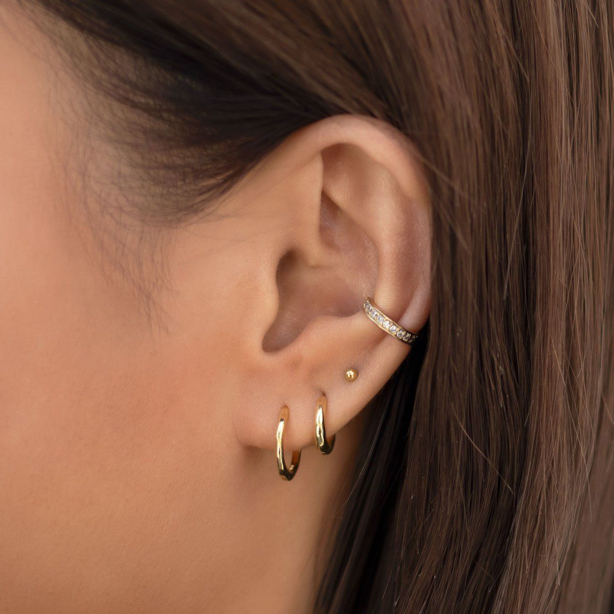 Pave Crystal Gold Huggie Hoop Earrings | Minimal Dainty Jewelry – AMY O Jewelry