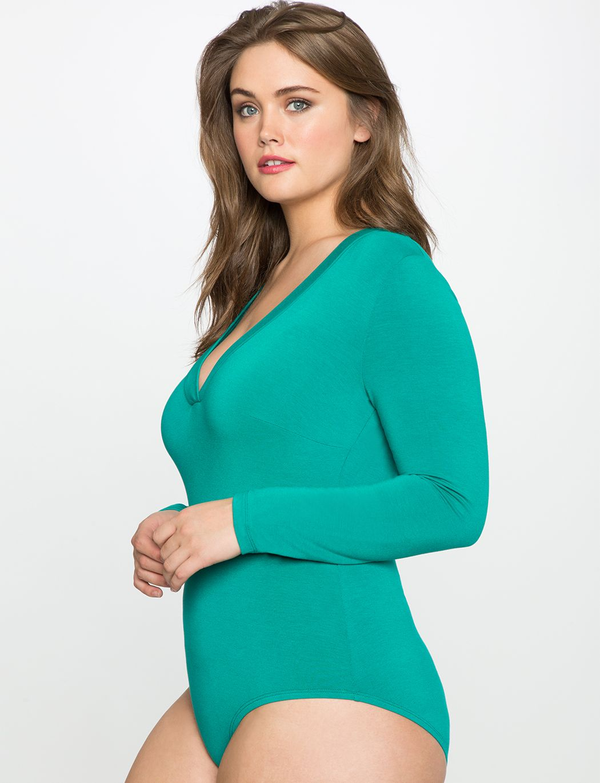 Deep vneck bodysuit womens plus size tops eloquii