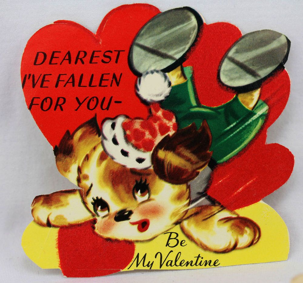 Valentine Greeting Card Vintage Animal Flocking Puppy Dog Fallen