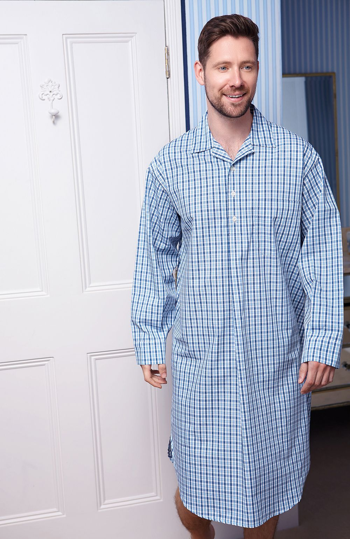 Mens Night Shirt Cap Set Nightshirt Nightwear Sleepwear Cotton Hospital Stay