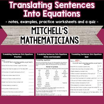 Translating Sentences Into Equations Equations Math