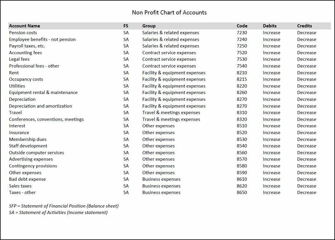Nonprofit Chart Of Accounts Template Awesome Nonprofit