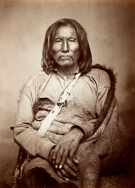 """""""Old Satank"""" or Sitting Bear, was one of 3 leaders of the Warren Wagon Train massacre. Though in his 70's, he was said to have been one of the most feared Indians on the South Plains. He was killed trying to escape while being transported to Texas to stand trial for his part in the massacre."""