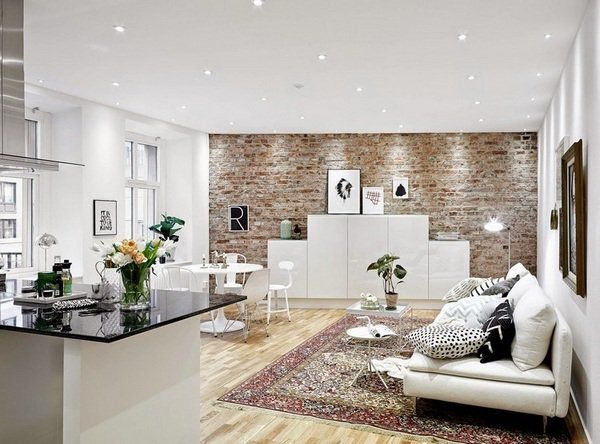 Living Room Wall Decoration Brick Wall White Furniture Wood Flooring