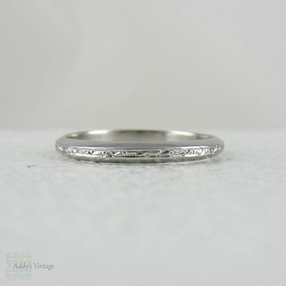 Art Deco Engraved Platinum Wedding Band Wreath Design With Knife Edge Style Shape Circa 1930s On Etsy 510 02 Aud