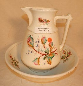 DECORATED PITCHER AND BOWL : Lot 205