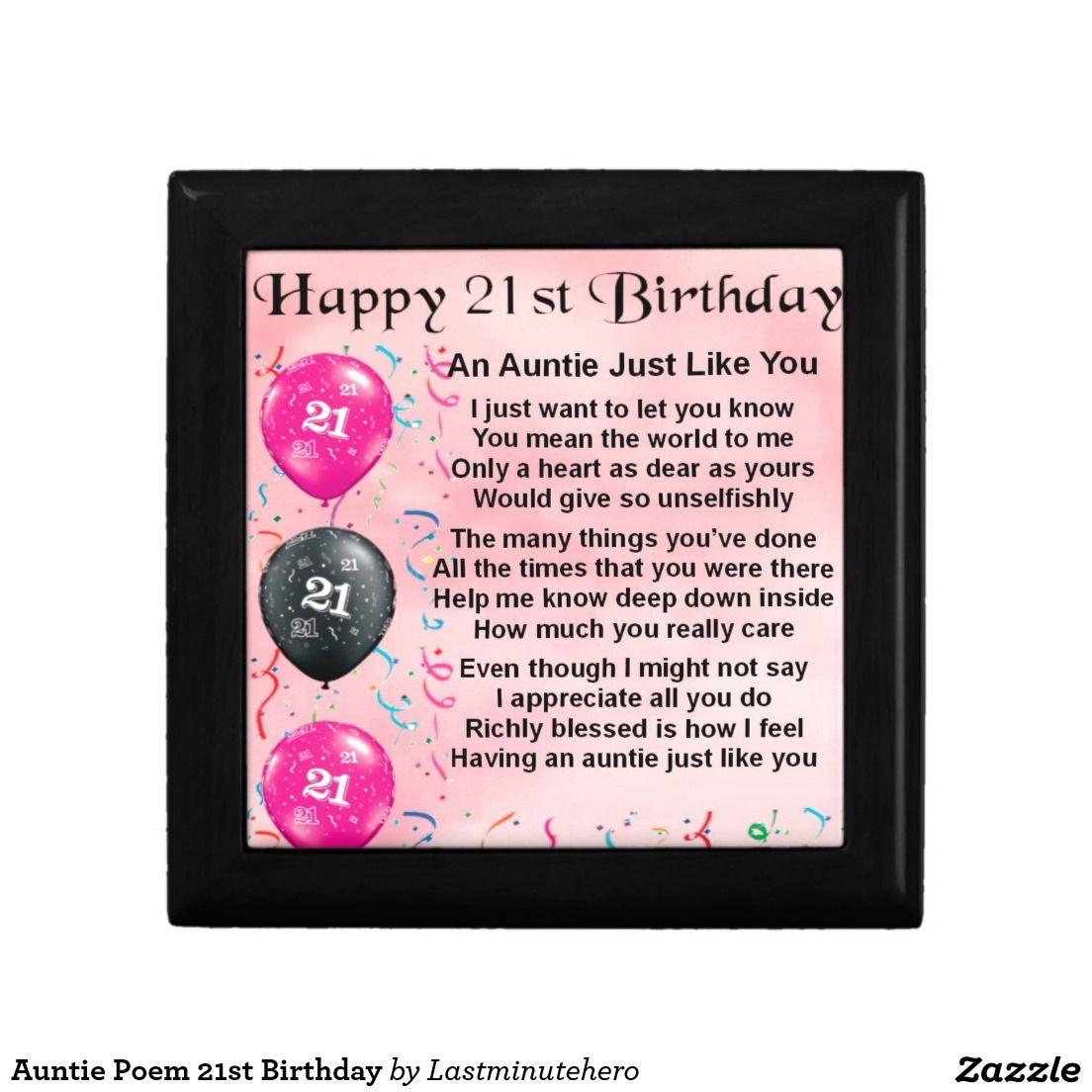 Auntie poem 21st birthday gift box zazzlecouk