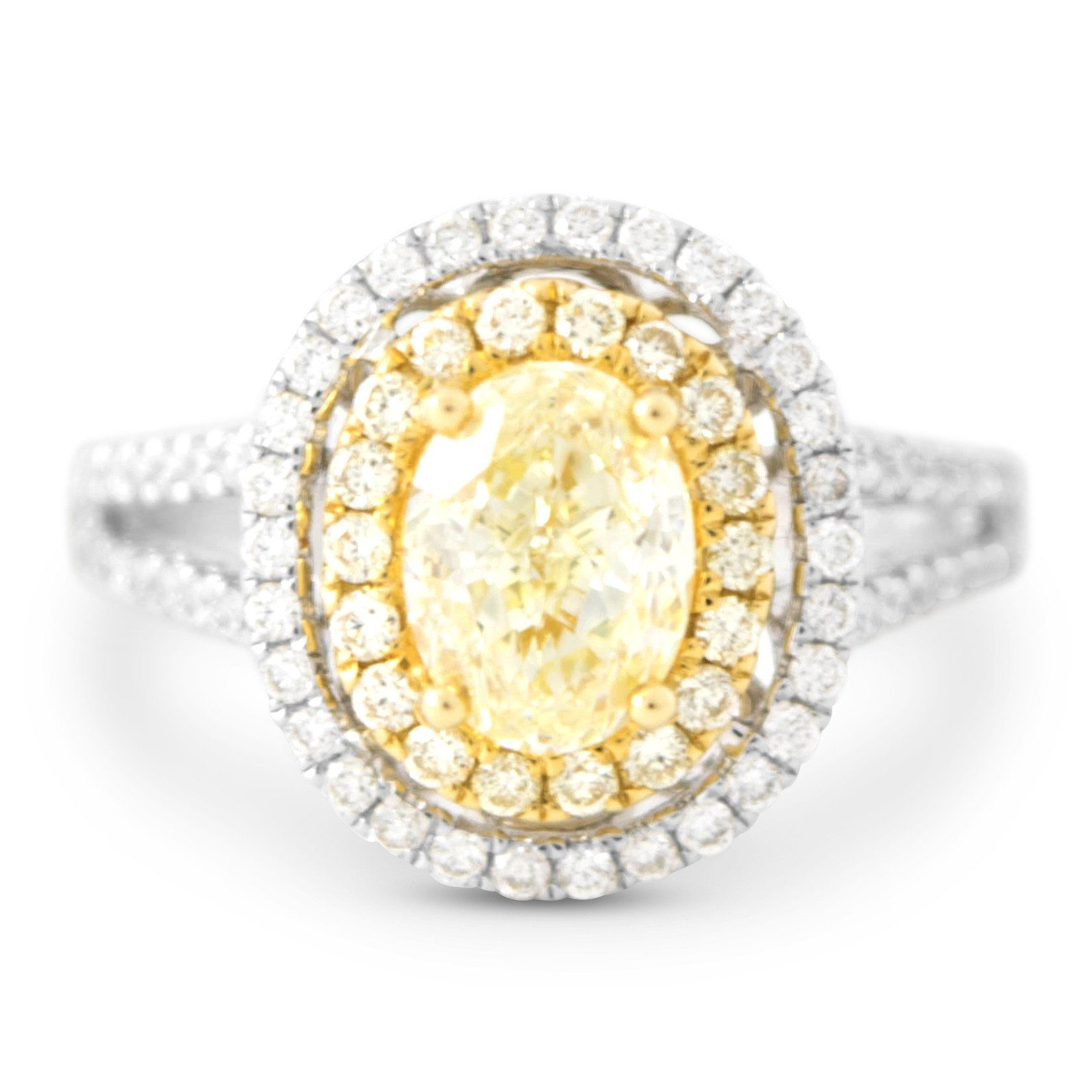 unique halo pave platinum bridal carat certified engagement wedding fancy diamond canary ring handmade rings yellow