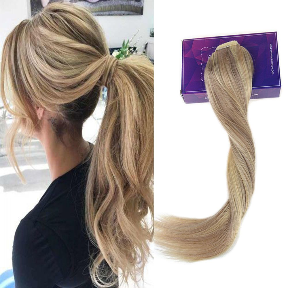 Ponytail Human Hair Extensions One Piece Highlights Ash Blonde To