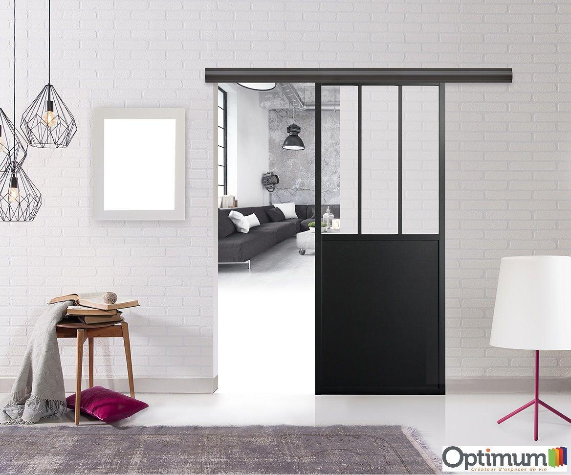 Porte en applique Atelier avec rail bandeau aluminium noir. Design  industriel ! 4ebef1777ce