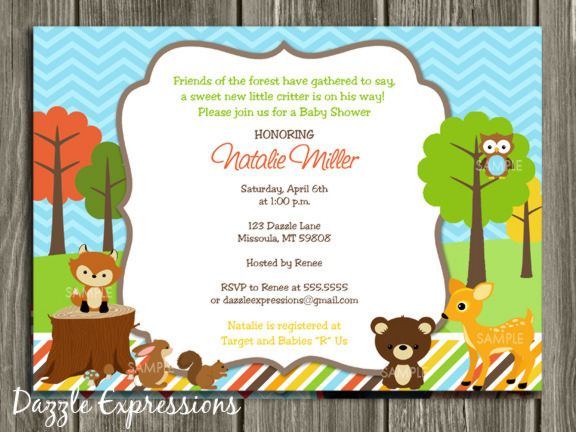 printable woodland baby shower invitation | forest animals, Baby shower invitations
