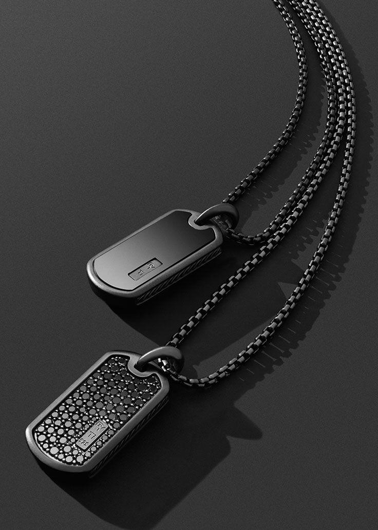 Black titanium tags. | Alejandro | Pinterest | Collar hombre ...