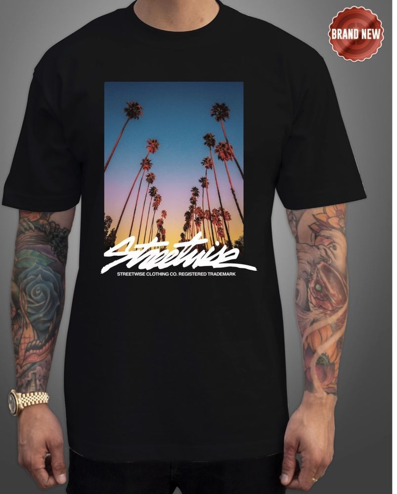 Streetwise Southern Cali T-Shirt  Black and Navy Color XL-3XL