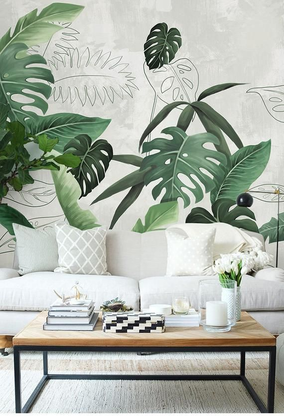 Southeast Asian Rainforest Plant Wall Murals Wall Decor, Green Leaves Shrub Wallpaper Wall Mural, Tropical Landscape Wallpaper