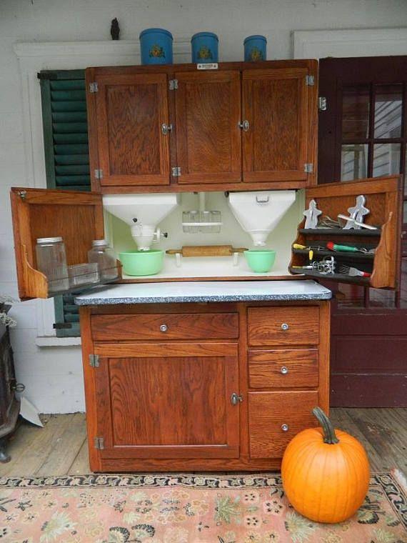 Sold 1920 Oak Hoosier Brand Kitchen Cabinet with original ...