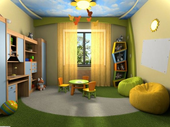 Kids Bedroom : Beautiful Kids Bed Room Design Ideas Featuring Colorful Kids Pieces Round Table And Chair Set With Green And Yellow Comfy Bean Bag Plus Brown And Blue Study Table And With Cabinet Also Yellow Contemporary Table Lamp Together Yellow Floral Pattern Fabric Curtain As Well As The Sky Paint Ceiling With Colorful Sun Flower Shaped Ceiling Lamp And Also Green And Grey Rug Flooring Along With Green And Yellow Painted Wall - Agreeable Kids Bedroom Design Inspirations