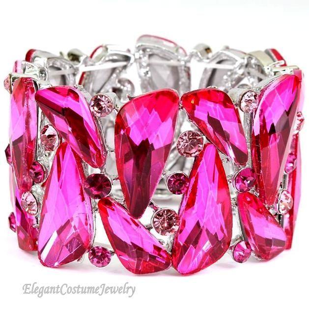 Elegant Pink Crystal Bracelet
