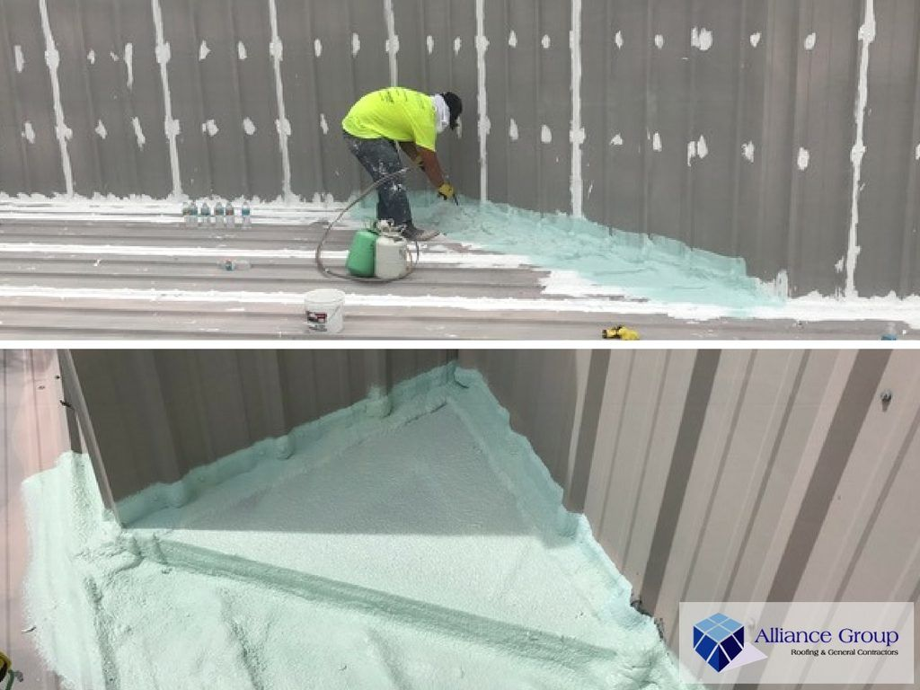 Sealing Leak Prone Areas With Gaco Flash Foam One Of The Steps Of The Roof Coating Project Check Out Our Blog Post To See T Roof Coating Flat Metal Roof Roof