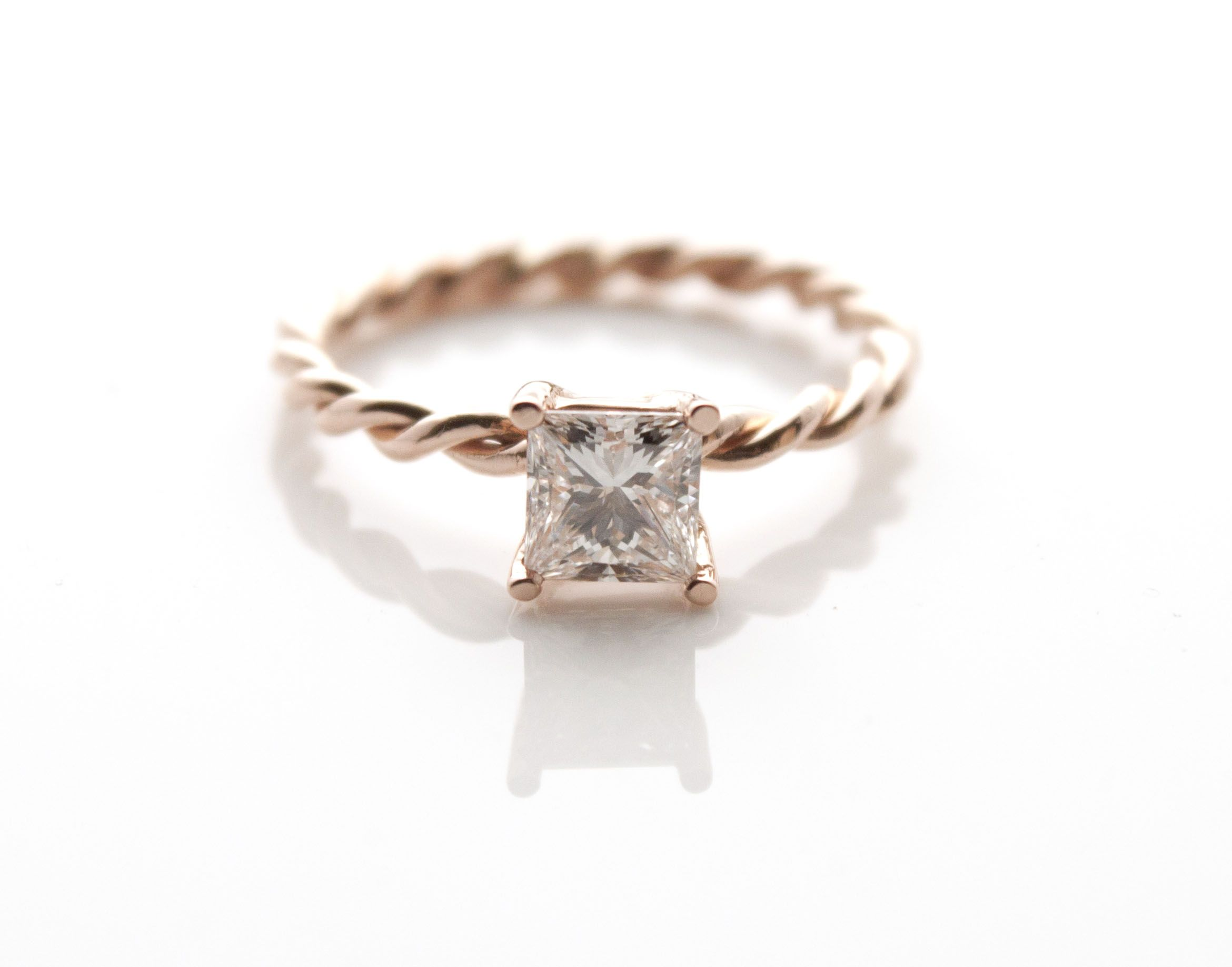 Love The Look Of This Dainty, Rose Gold Wire Wrapped Engagement Ring  Featuring A Princess