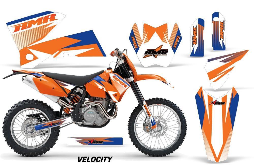 Dirt Bike Decal Graphic Kit Wrap For Ktm Exc Sx Mxc Smr Xcf W 2005 2007 Velocity Orange Blue Graphic Kit Ktm Exc Cool Dirt Bikes