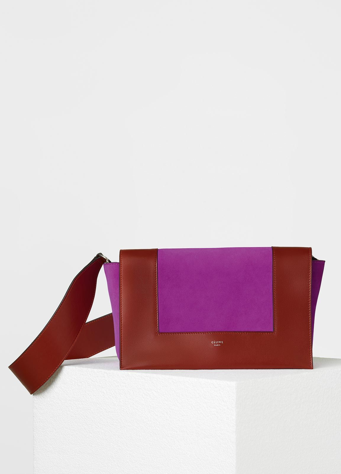 CÉLINE MEDIUM FRAME SHOULDER BAG IN BURNT RED AND MAGENTA SUPERSOFT  CALFSKIN AND SUEDE CALFSKIN a3f51df41a20e