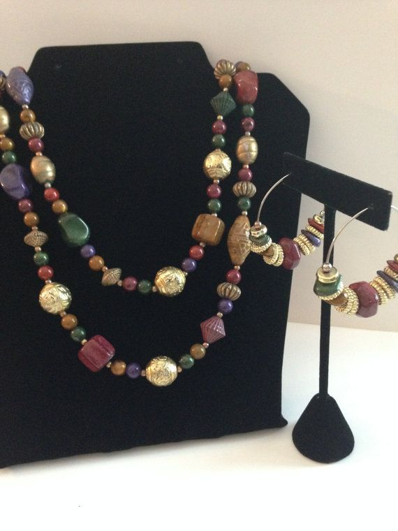 Viintage 80s Beaded Necklace  Jewel Tones  by gumlogmercantile