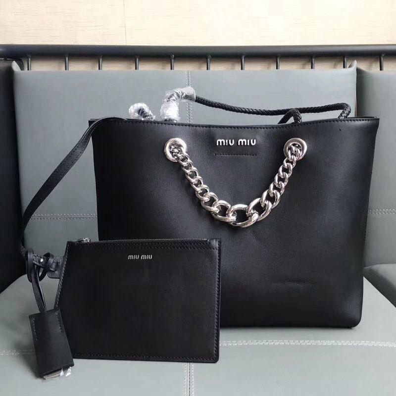 Miu Miu Calfskin Tote Bag With Pouch 5BG054 Black   Miu Miu Bags ... fb3a828a14