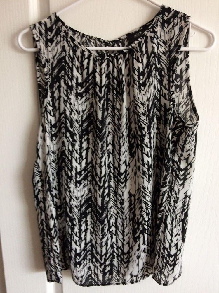 75136d3b13b40 Apt 9 essentials women s Top Blouse size M Black White Sleeveless EUC   fashion  clothing