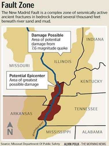 New Madrid Fault Line Earthquakes Of Explosives On New - Missouri fault line map