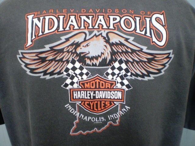Harley-Davidson Gray XL T-Shirt Indianapolis Indiana Cotton #HarleyDavidson