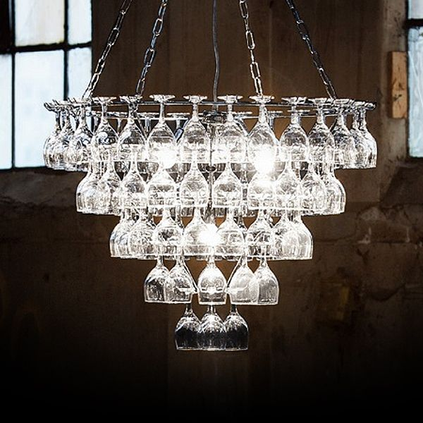 A Chandelier With Difference The Vino Wine Glass Is Constructed Entirely From Sparkling