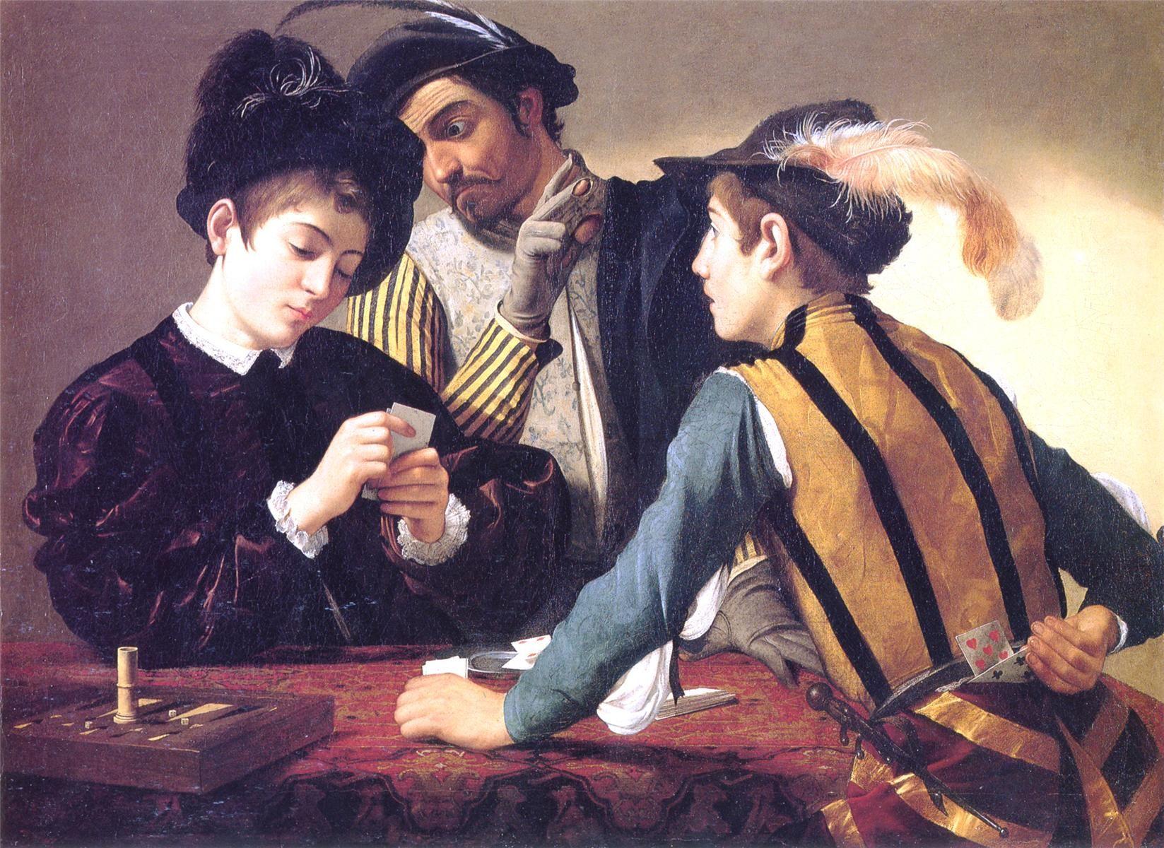 Caravaggio. Los jugadores de cartas, 1594. Óleo sobre lienzo. Kimbell Museum of Art, Fort Worth, Texas.