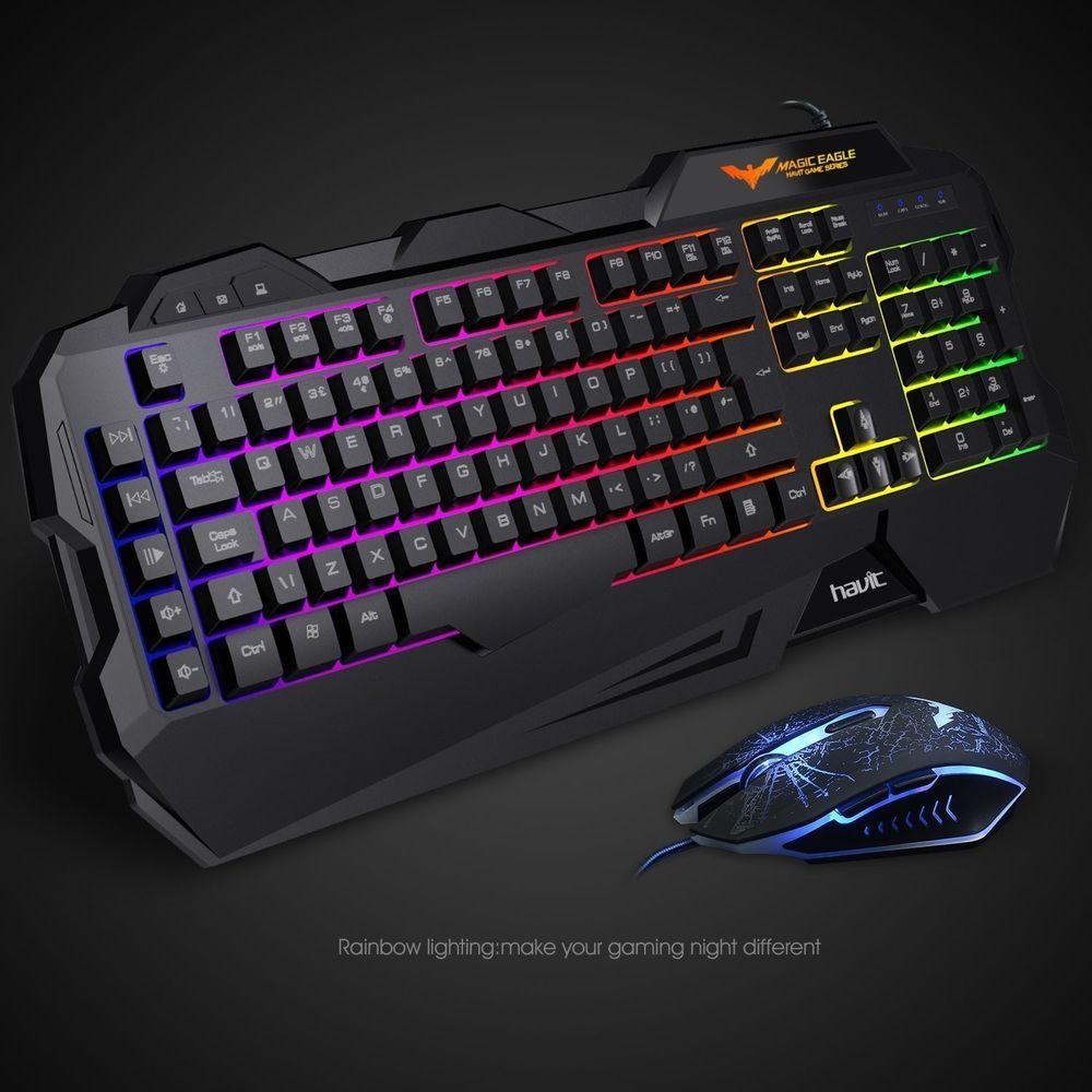 Gaming Keyboard Havit Rainbow Led Backlit Wired