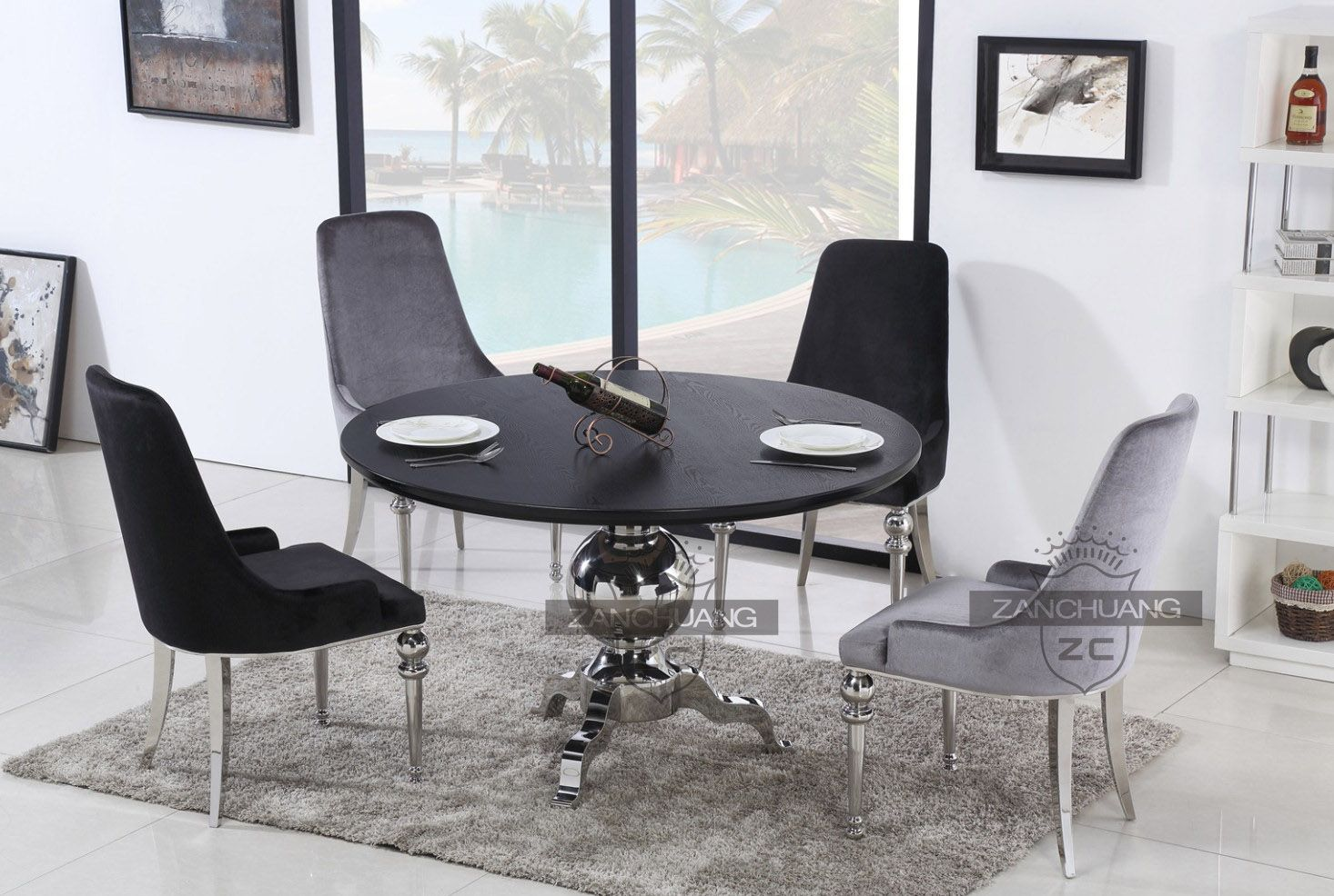 black mdf top kitchen table with stainless steel base