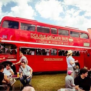 Traditional British double decker bus bar  for hire. Our London bus is perfect for British and Royal themed events.