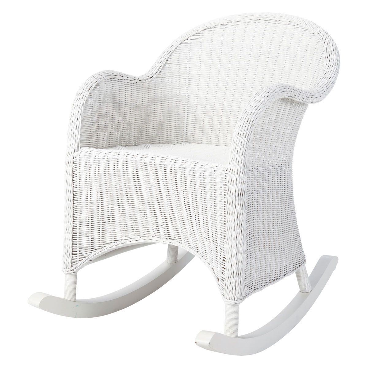 rocking chair enfant en rotin blanc oc an chambre b b. Black Bedroom Furniture Sets. Home Design Ideas