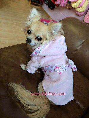 Small Dog Dressing Gown Bath Robe Puppy Angel Juicy Baby Pink